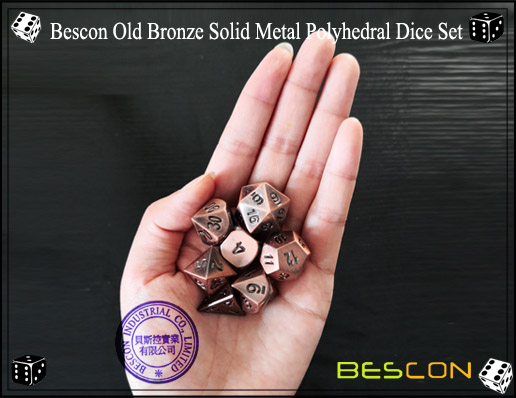 Bescon Old Bronze Solid Metal Polyhedral Dice Set-7