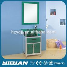 New Glass Wash Basin Vanity with Aluminum bathroom Cabinet