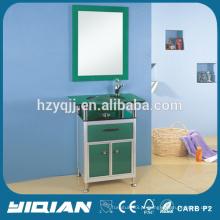 Lavatório de lavatório de vidro novo com gabinete de banheiro de alumínio