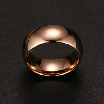 Anello in carburo di tungsteno placcato oro rosa cupola