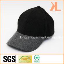 Polyester et laine Qualité Warm Plain Grey & Black Baseball Cap