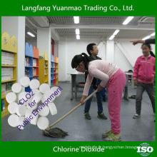 Tablette de dioxyde de chlore désinfectant sécurisé et largement utilisée pour l'environnement public