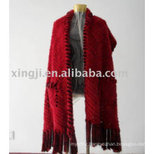 Knitted Mink fur shawl with pocket