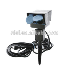 2 safety contact sockets and mechanical timer round ground spike for garden socket