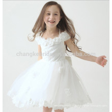 Lovely Flower Ruched Girls Pageant Evening Gowns Lace Applique Tulle Children Dress