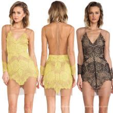 2015 Sexy Backless See-Através do vestido curto do laço para a senhora