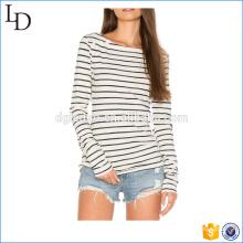 Fashion women long sleeve stripes t shirt OEM fitness wear
