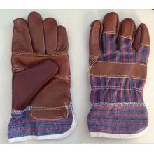 Dunkelbraun gepatchte Palm Möbel Leder Arbeit Handschuh-4001