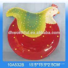 Plato de gallo de cerámica de diseño animal encantador
