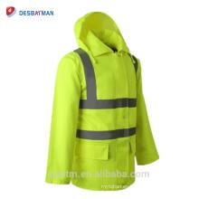Chaqueta de lluvia con capucha personalizada Vis Reflective Chaqueta de lluvia con seguridad de alta visibilidad exterior con capucha