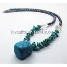 Синтетический бирюзовый кристалл Ожерелье с кудрявым бирюзовым подвеском