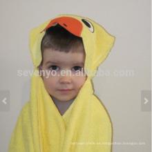 Toalla con capucha de pato - pato amarillo brillante con acentos de color naranja, 100% algodón, súper suave y absorbente