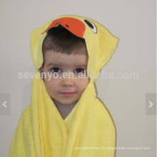 Duck Hooded Towel - canard jaune vif avec accents d'orange, 100% coton, super doux et absorbant