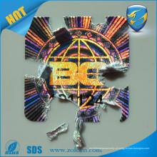 Custom ZOLO Plain Hologram Destructible Vinyl Eggshell Seal Sticker Autocolante auto adesivo
