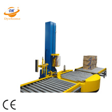 Turntable infeed conveyor wrapper pallet