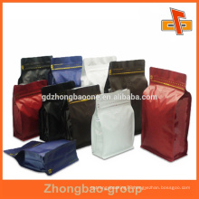 Food grade plastic colored ziplock bag with box bottom for packaging