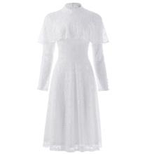 Kate Kasin Women's Ruffled Long Sleeve High Neck White Lace A-Line Dress KK000505-2