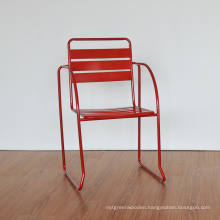 Wholesales Slat Metal Chair Bistro with Arms Restaurant Furniture (SP-MC097A)