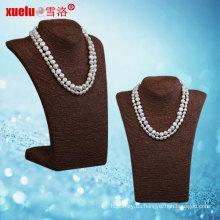Última joyas de agua dulce barroco natural collar de perlas (E130114)