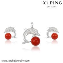 63973 Fashion Charm CZ Pearl Fish Design Rhodium Jewelry Set