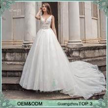 Elegant Braut Kleid weiß Hochzeit Braut Prinzessin Ballkleid Brautkleider mit schweren Spitzen 3D Blumen