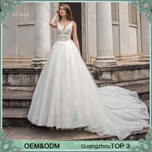 Elegant bride dress white wedding bridal princess ball gown wedding dresses with heavy lace 3D flowers