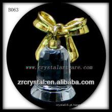 K9 Presente de Natal Banhado a Ouro Sino de Cristal