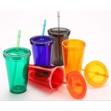 Caneca de plástico de 450 ml com palha, caneca de beber de plástico, caneca de viagem de plástico