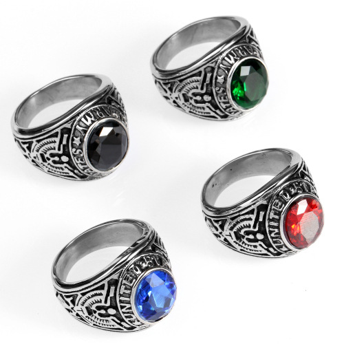 Green red blcak blue diamond ring