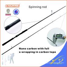 SPR116 245 cm aparejos de pesca baratos fibra de carbono caña de pescar spinning