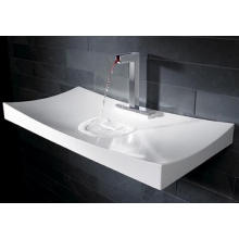 Bathroom Elegant Square Counter Top Glossy White Marble Wash Basin (BS-8403)