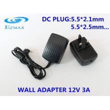 12V 3A Adaptador de pared para CCTV fuente de alimentación adaptador de corriente