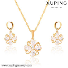 64020 Xuping fashion jewelry gold plated earring and pendant sets