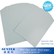 Blue Based Clear Inkjet Wasserrutsche Aufkleber Transferdruckpapier