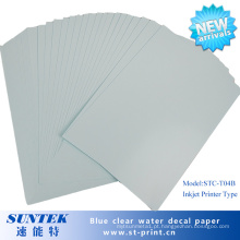 Papel de impressão claro baseado azul do transferência do decalque da corrediça de água do Inkjet