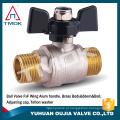 válvula de controle para o óleo de gás da água cw167n latão plaated níquel na esfera de cobre da linha masculina válvula de esfera de bronze do punho do alumínio