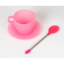 Diferentes colores reutilizables cuchara de café de silicona acero inoxidable mezcla cuchara