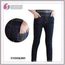 2015 polainas de los pantalones vaqueros falsos de la cintura alta de las señoras cómodas cómodas (SNDDK005)