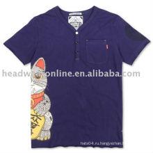 Хлопок / полиэстер v футболка с шейкой