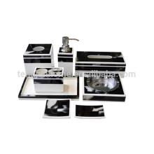 8 pcs black soap dispenser soap dish plate ashtray tissue box horn hotel bathroom set