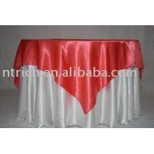 Белая атласная ткань скатерти, отель Скатерть, красного атласа оверлея