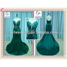 2012 Arabic Sexy Embroidery Mermaid Green Fashion Arabic Wedding Dress accents with Stunning Crystal and leaf details