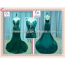 2012 Arab Sexy Embroidery Mermaid Verde Moda acentos de vestido de casamento árabe com deslumbrantes detalhes de cristal e folha