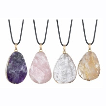 Pendentifs en pierre naturelle breloques mélange style goutte d'eau forme améthyste agate cristal Quartz pierres précieuses perles de guérison Chakra