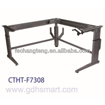 Albania & Lushnje L shape height adjustable table frame by manual rocker