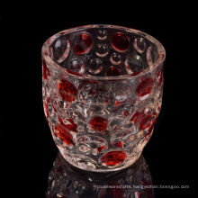 high End Glass Candle Holder with Red Painting