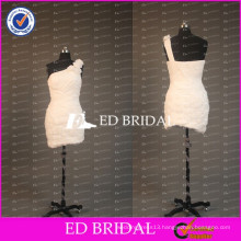 ED Bridal Flower One Shoulder Sheath Short Ruched Chiffon White Cocktail Dress With Feather 2017