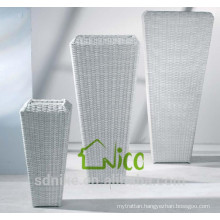 Vase -(9) home & garden furniture wicker/ PE rattan white garden flower pot set