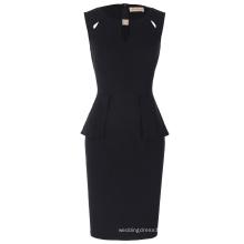 Kate Kasin Women's Crew Neck Cut out Peplum Black Sleeveless Short Business Pencil Dress Summer Dress KK000395-1
