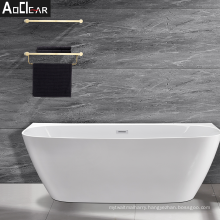 2021 Aoclear cupc acrylic back to wall freestanding square shape bath tub bathtubs
